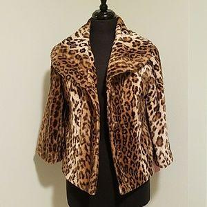 INC leopard fur jacket
